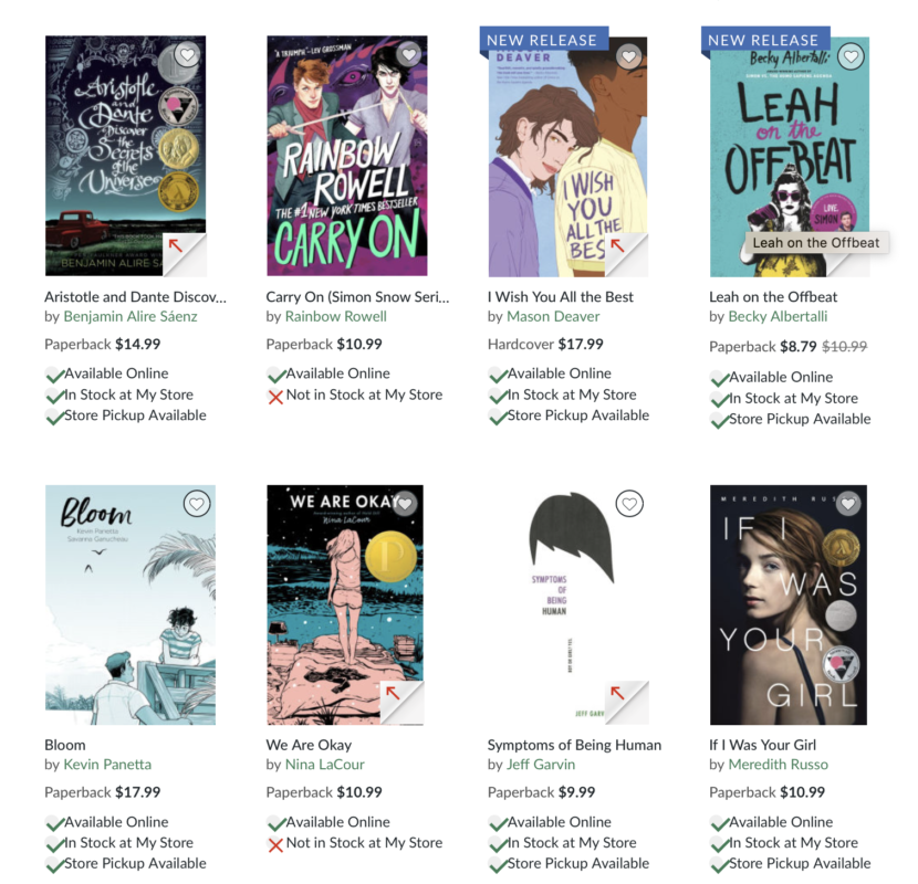 8 of B&N's #BookPride YA Selections